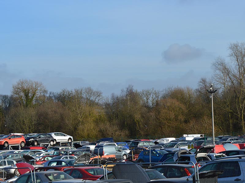 a field of cars